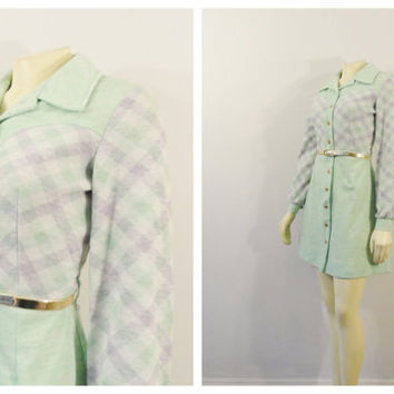 SALE Vintage Dress 60s 70s Mod Mini Dress Vicky Vaughn Green Lavender White Plaid Knit Shirtwaist Size Small
