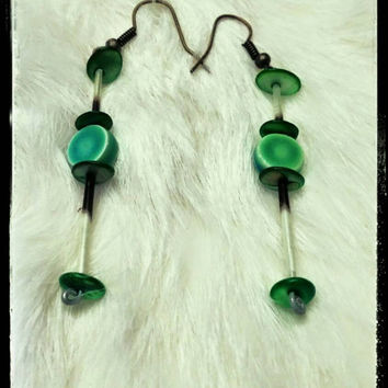 Porcupine Quill Earrings Green Dangle and Drop Animal Spiritual  Pagan Festival Native Tribal Gypsy Spirit Festival Natural Jewelry