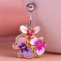 Epoxy Enamel Esmalte Colares Butterflys Belly Button Rings Sexy Body Piercing Jewelry Bars Piercings Navel Piercing Gothic Unhas