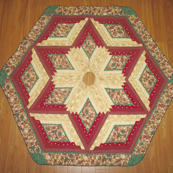 Christmas Tree Skirt  -  Joyful Angels  Quilt  Reversible  -  110