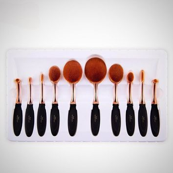 Brush Shape Oval 10 Pc Brush Set MULTIPURPOSE Makeup Brushes Professional