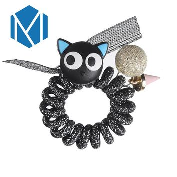 M MISM Women Gum for Hair Accessories Hair Holders Rubber Hair Band Elastics Girl Women Cat Ball Charms Tie Bands Rope Hair Ring