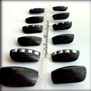 Black gothic nails with studs and spikes