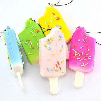Squishy Sprinkles Popsicle Phone Straps Soft Bread Scented Key Chains Kids Pop