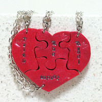 Puzzle Heart Necklaces personalized set of 4 Always Together Never Apart Polymer Clay Made To Order