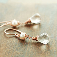 Rose Gold Pearl Gemstone Twist Earrings