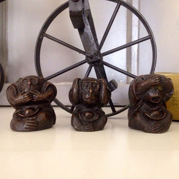 SEE no evil, HEAR no evil, SPEAK no evil , Rare Three Wise Monkeys, Red Copper Vintage Home Decor Set