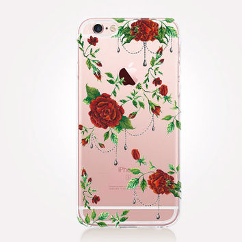 Transparent Red Roses Phone Case  - iPhone 7 Case - iPhone SE Case - iPhone 6S Case - Samsung S4 Case - iPhone 5C - Tough Case - Matte Case