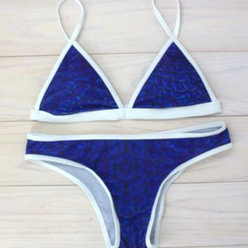Fashion women sexy Blue print scale and white edge two piece bikini swimsuit