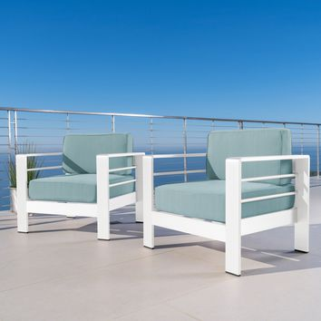 Crested Bay Outdoor White Aluminum Club Chairs with Teal Water Resistant Cushions