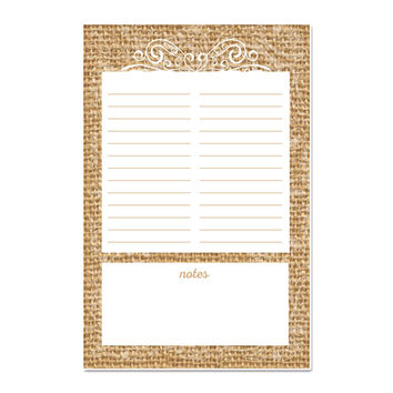 Burlap and Lace Notepad, 100 pages, 5.5 x 8.5 inches, with optional magnet
