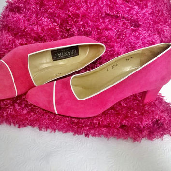 6.5 Vintage Hot Pink Leather Suede white Detail High Heels - 1980's pink Leather Pumps Chantal Hand Crafted in Italy, New 80's
