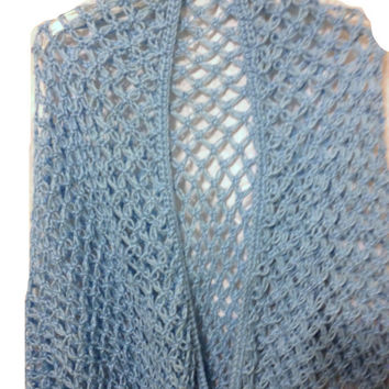 Crochet Shawl Solomon Knot Lovers Knot Stitch Light Shawl Baby Blue Triangle