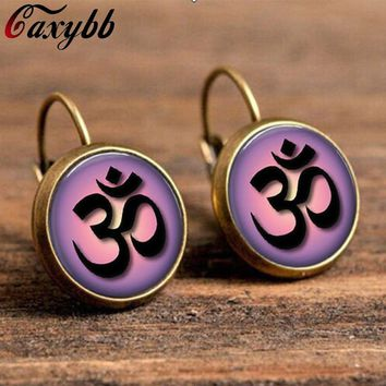mandala purple earrings henn yoga earrings jewelry for women om symbol buddhism,zen,meditation glass cabochon earring c-e157