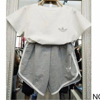 ac NOVQ2A ADIDAS summer sports women's loose breathable sweat-absorbent cotton leisure two-piece NO.3