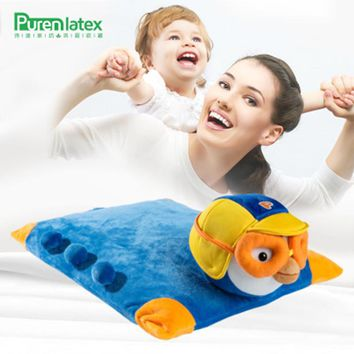 Natural Latex Pillow Cartoon Children Kids Baby Animal Pillowcase Neck Spine Protect Teenager bed sleeping Thin Oreiller ZT-S014