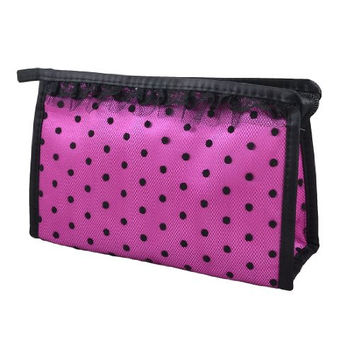 2016 Canvas polka dots women girls makeup bags Zippered Lace Dotted Mesh Rectangular Cosmetic Bag Pouch Organizer