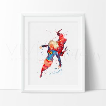 Supergirl Watercolor Art Print
