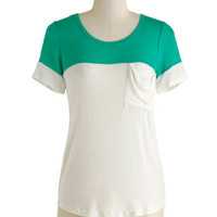 New to the Colorblock Top in Green