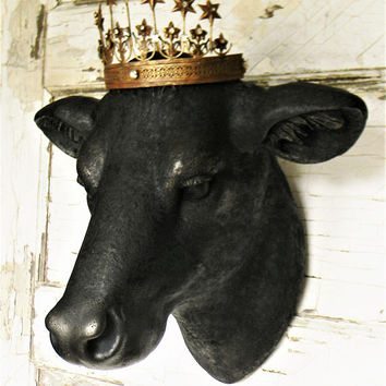 Faux Cow Head, Faux Taxidermy ,Faux Taxidermy Cow Head, Cow Head Wall Mount, Cow Head with crown, French Country, Farmhouse Decor