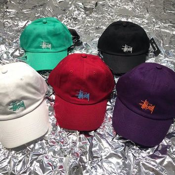 """Stussy"" Unisex Casual Fashion Letter Logo Embroidery Baseball Cap Flat Cap Couple Sun Hat"