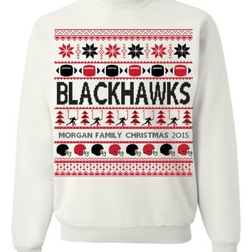 Blackhawks Football Christmas - Family Name Christmas 2015 Personalized Apparel For Blackhawks Fans - Perfect Christmas Gift For Football NFL Blackhawks Enthusiasts