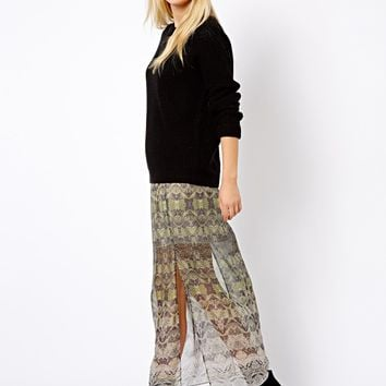 Warehouse Animal Print Maxi Skirt