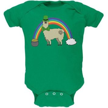 CREYCY8 St. Patrick's Day Llama Cute Pot Of Gold Soft Baby One Piece