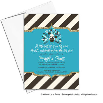 Thanksgiving baby shower invitation for boy | blue brown | a little turkey baby shower | thanksgiving invitations | printable - WLP00796