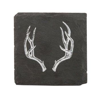 Twine Rustic Holiday Antler Slate Coasters by
