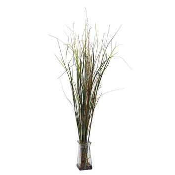 Silk Flowers -Grass And Bamboo With Glass Vase Artificial Plant