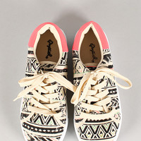 Qupid African Print Lace Up Round Toe Sneaker
