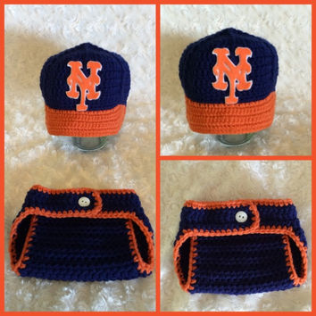 New York Mets Baseball Team Baby Crochet Hat, Cap, Beanie, and Diaper Cover Photo Prop Outfit Set for Newborn-12 Months