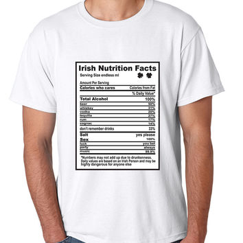 Irish nutrition facts St patrick men t-shirt
