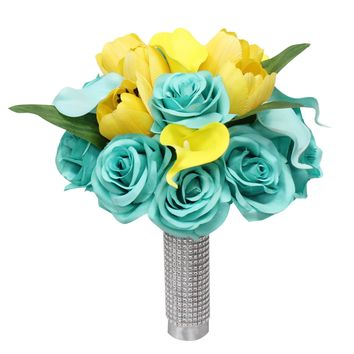 "Spa Yellow Grey Wedding Theme - 10"" Rose and Tulips Bridal Bouquet"