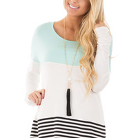 Mint Color Block Top with Crochet Detail Back
