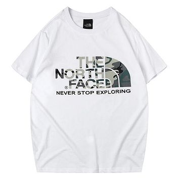 The North Face 2019 new men and women camouflage printed loose round neck half sleeve T-shirt white