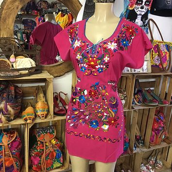 Mexican Kimono Embroidered Dress Hot Pink