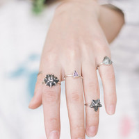 Nautical rings set of five, stacking rings, sterling silver ring, boho ring, seashell ring, rough gemstone ring, knuckle rings, raw stone