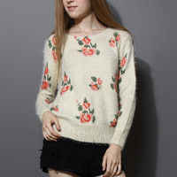 Floral Print Fluffy Sweater in Ivory Beige S/M