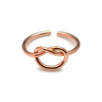 Rose Gold Knot Toe Ring - Sterling Silver Rose Gold Plated Knot Toe Ring
