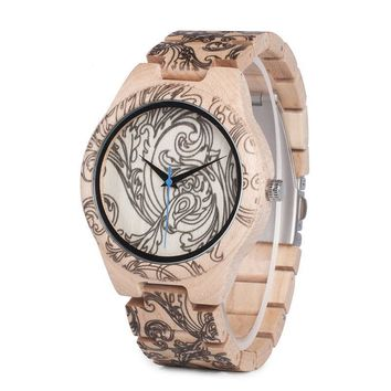 Pine Wooden Quartz Watches for Men UV Printing Tattoo Watch In Wood Box With Tool For Adjust Size
