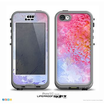 The Pink to Blue Faded Color Floral Skin for the iPhone 5c nüüd LifeProof Case