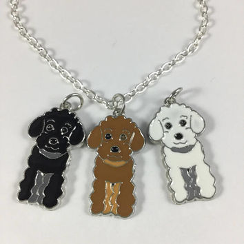 Poodle Charm Necklace-Poodle Charm Jewelry-Choose Color-Dog Lovers Necklace-Poodle Lovers Gift-Poodle Jewelry-Color Poodle Charm Necklace