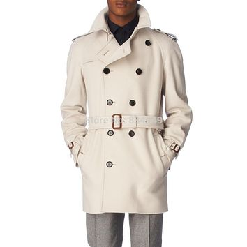 Custom Made Ivory White Trench Coat Men, Double Breasted Winter Overcoat Men Long Coat, Cashmere Wool Coat Winter Coats For Men