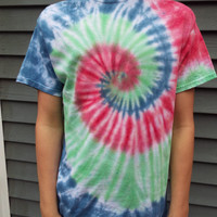 Colorful Tie-dye T-Shirt, Unisex Adult Medium TieDye Swirl Shirt, Hippie Clothing, Boho, Gift forTeens, Retro Tee, 60s Party, Mens, Womens