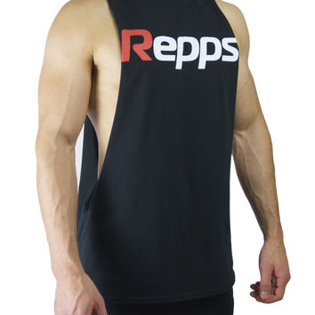 Repps Cut off Muscle Tank Top Shirt for Men - Black