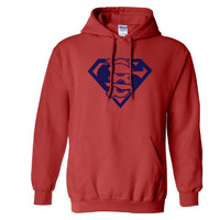 Red Boston Redsox Red Sox Superfan Superteam Superman Hoodie Hooded Sweatshirt Ladies Unisex Child Toddler Men