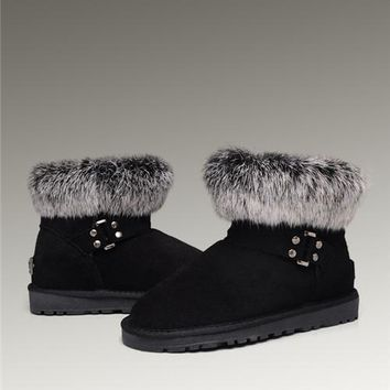 UGG Fox Fur Mini Boots 5859 Black