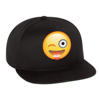 Emoji Winking Emoticon Single Color Flat Bill Cap
